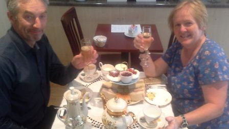 A glass of prosecco to mark the 500th afternoon tea served at Mr H's in Bucklersbury, Hitchin