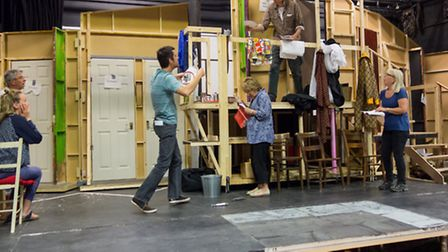 Rehearsals for Noises Off at the Queen Mother theatre