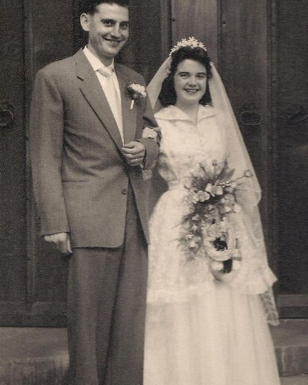 Jack and Joyce Hawkes on their wedding day in 1955.