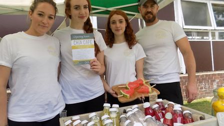 Opening in Hitchin town centre, vegan and plant based health cafe Chia Cafe, from left Lucy Fisher (