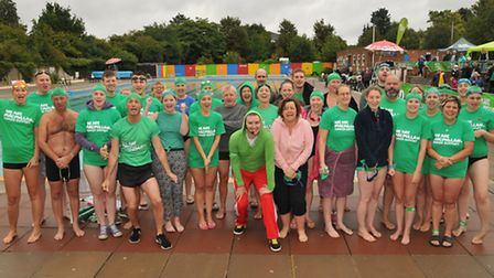 People taking part in the Lido swim challenge for Macmillan at Letchworth Lido