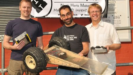 Hitchin Hackspace members L-R Andy Mansfield, Rob Berwick and Mark Mellors with their victorious rob