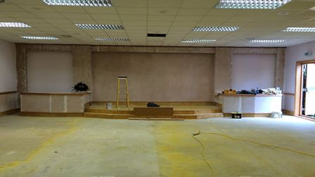 The main hall before the work was finished.