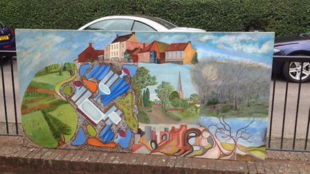Half of the mural remains outside Springfield House Community Centre in Stevenage.