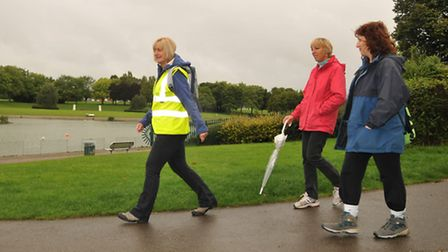 Leader Denise Fagen (left) and the Stevenage Borough Council health walk at Fairland Valley park
