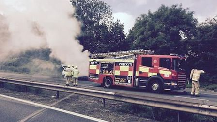 The van on fire near Junction 6 of the A1(M). Picture: @StevenageBoy via Twitter.