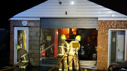 Fire crews battled a blaze at a Stotfold workshop on Friday night. Credit: Bedfordshire Fire and Res