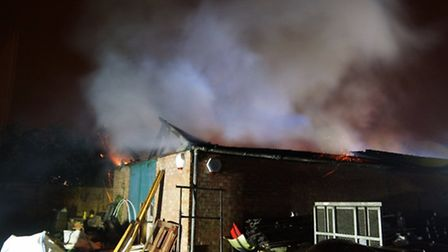 Fire crews battled a blaze at a Stotfold workshop on Friday evening. Credit: Bedfordshire Fire and R