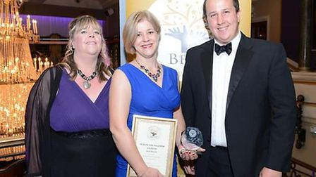 Ask Physio's Sarah Kinsella, centre, receives her 'best health and wellness' award from Hertfordshir