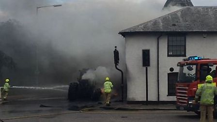The Maltings was hit by a tractor fire in Baldock.