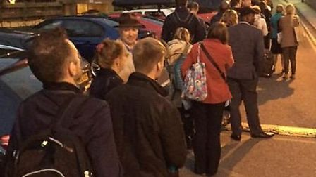 Queues outside Royston railway station after the Great Northern line was shut between the town and C