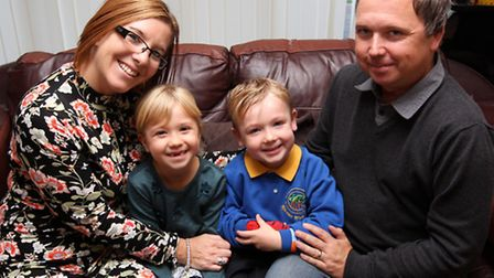 Mum Sharon, pictured with daughter Lily Mae, son Harrison and husband Chris, has set up her own Face