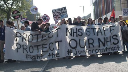 People from the North Herts People's Assembly protest against government austerity cuts in Mancheste