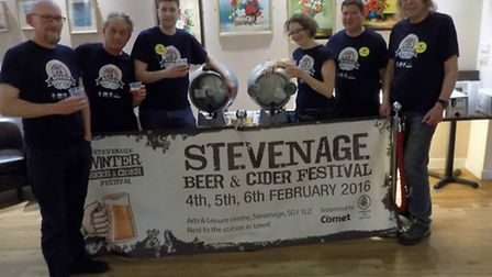 Launch of the Stevenage Beer Festival at the Gordon Craig Theatre. Left to right are Martyn Beer, Ma