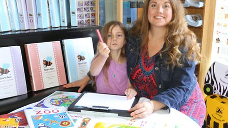 Handwriting kit entrepreneur and campaigner Melanie Harwood from Letchworth with daughter Hannah-Jan