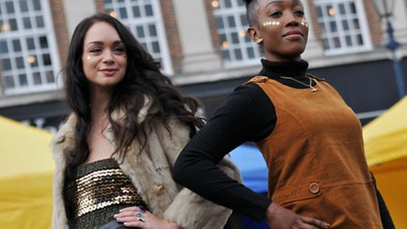 Models for Jolly Brown Vintage at Hitchin Fashion Show