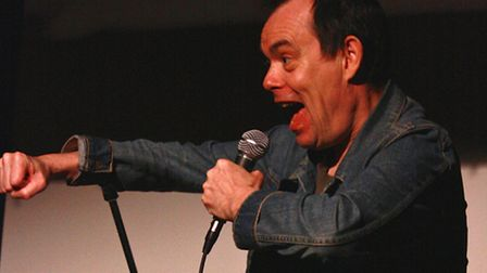 Kevin Eldon on stage during a previous visit to Hitchin's Mostly Comedy