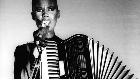 Grace Jones performing on stage in the Netherlands. Picture: Rob Verhorst/Redferns
