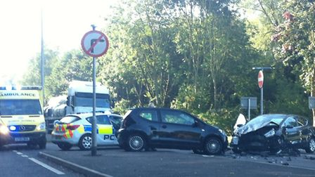 The scene of the crash at the A602 junction with Charlton Road in Hitchin. Picture: Gerard Francis