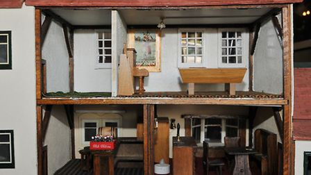 The rooms of the dolls house size model of the Highlander pub