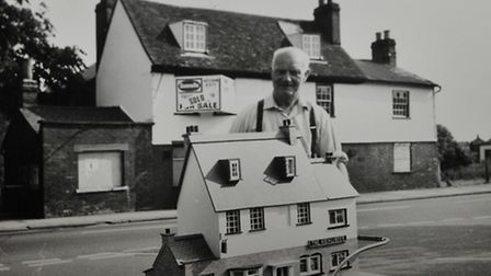 A picture of Joe Hunt who made the dolls house size model of the Highlander pub