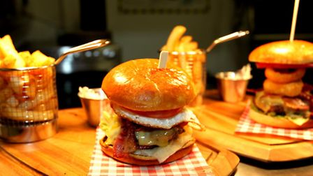 Homemade burgers and chips at Taste in Stevenage Old Town.