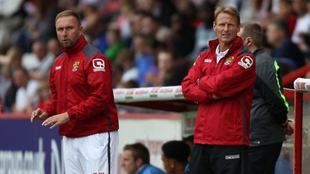 Teddy Sheringham and his assistant, Kevin Watson. Photo: Harry Hubbard