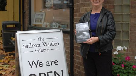Author Katrina Mountfort, outside the Saffron Walden Gallery where she will holding a book signing o