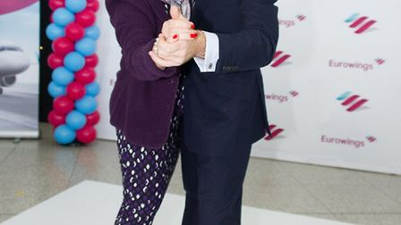 Anton Du Beke with Ann Lee at Stansted Airport