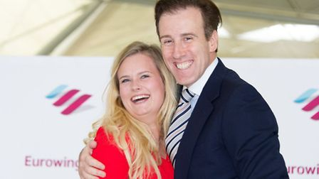 Anton Du Beke with Georgina Arme at Stansted Airport