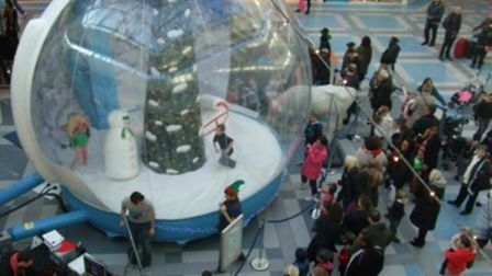 Stevenage's Westgate shopping centre will be tempting Christmas shoppers with this giant inflatable