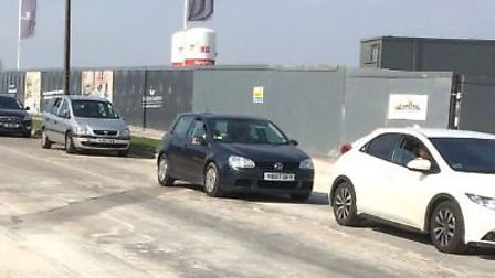 Drivers queueing up Blackhorse Road over the Easter holidays to get into the tip. Credit: Deborah Ro