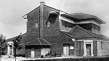How the church looked before its completion in the 1960s.