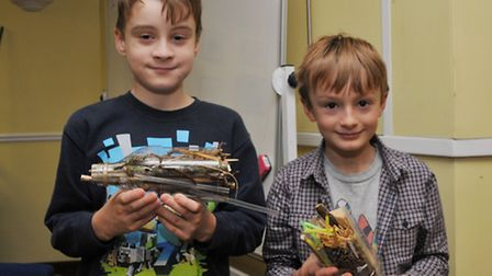 Shark Finn, 10 and Ben Patane, 8 with their insect hotels