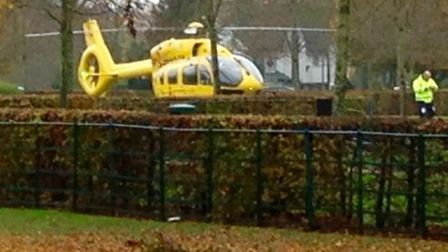 An East Anglian Air Ambulance has landed in Broadway Gardens in Letchworth to attend to a woman who