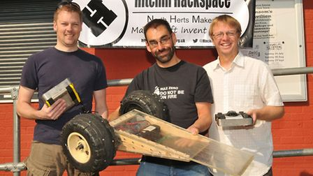 Hitchin Hackspace members Andy Mansfield, Rob Berwick and Mark Mellors (left to right).