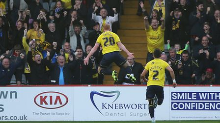 Ryan Taylor celebrates in front of his fans
