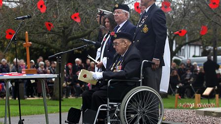 The Remembrance Sunday service at the Bowling Green in Stevenage Old Town.