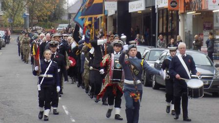 The parade, wreath laying and church service at St Mary's Church in Hitchin for Remembrance Sunday.