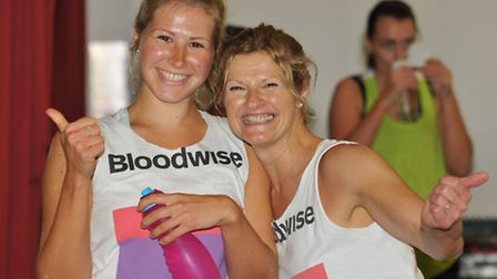 Ellie and Sue Males at the charity zumbathon to raise money for Bloodwise at the Priory School