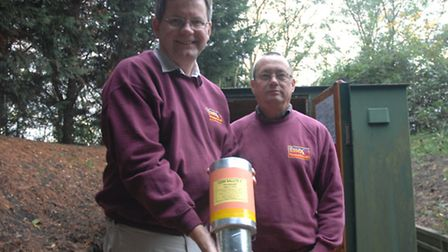 Tom Archer (left) and Dave Mitchell from Essex Pyrotechnics with one of their fireworks