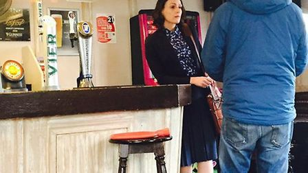 Suranne Jones at the Rose and Crown pub in Hitchin during filming of Dr Foster in May, which is now