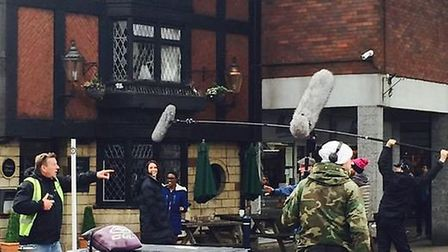 Filming outside the Rose and Crown pub in Hitchin's Market Place in May for BBC One show Dr Foster.