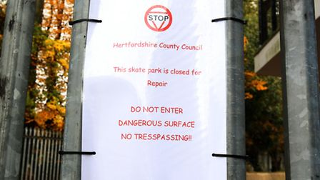 A skate park in Stevenage is closed