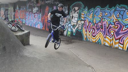 Jonathan Harrison on his BMX at Bowes Lyon skate park in Stevenage, which has been shut due to safe