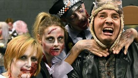 A group sporting a killer look for ZombieQuest Hitchin on Hallowe'en night. Picture: Billie Bachra