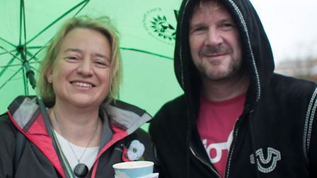 Keynote speaker Natalie Bennett, leader of the Green Party, with Kev Boon Picture by Kasia Burke www