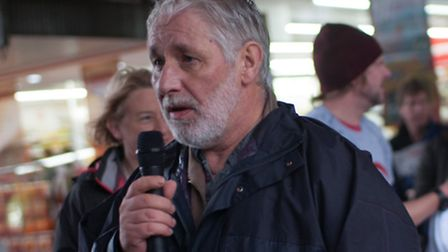 Steve Glennon speaks at the North Herts People's Assembly rally in Stevenage. Picture by Kasia Burke