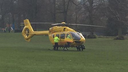 The East Anglian Air Ambulance, flown by Prince William, which landed on Saffron Walden Common on Mo