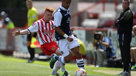 Paris Cowan-Hall in action for Millwall against Stevenage in the summer